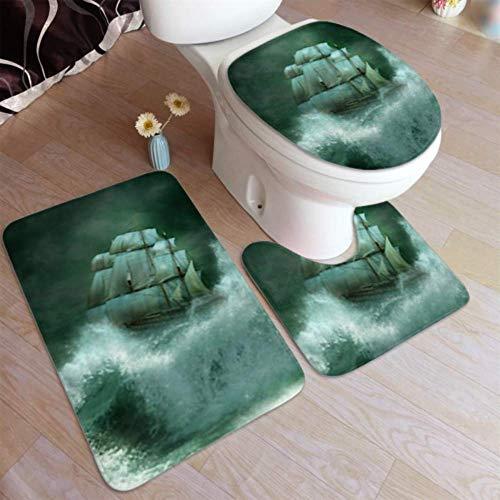Badezimmerteppich, Badezimmerteppiche, Altes Schiff Segeln Marine Gewitter rutschfeste Badezimmermatte, U-förmige Toilettenmatte Duschbodenmatte Toilettenabdeckung, für Badewanne, Dusche, Badezimmer