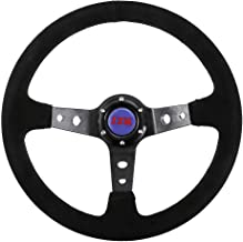 JZK Classic Universal 350mm Deep-Dish Steering Wheel 6 Bolts Grip Exquisite Stiches and Velour Leather Wrapped with Brushed Stainless Spokes