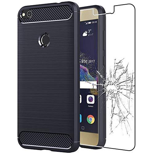 ebestStar - Funda Compatible con Huawei P8 Lite (2017) Carcasa Silicona Gel, Protección Diseño Fibra Carbono Ultra Slim Case, Azul Oscuro + Cristal Templado [Aparato: 147.2 x 72.9 x 7.6mm, 5.2'']