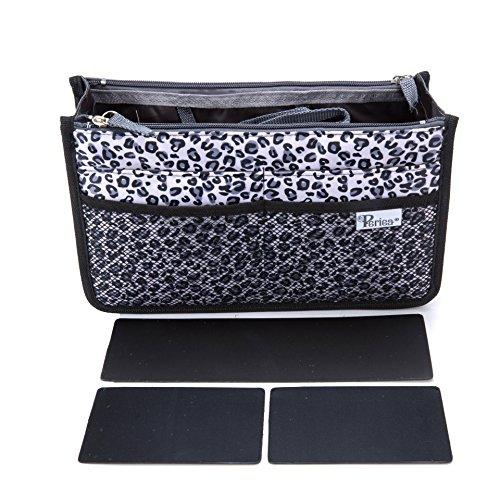 Periea Handtasche Organizer Taschen-Organisator - Chelsy Prämie - 3 Farben verfügbar - klein, mittel oder groß (Silberner Leopard, Mittel)