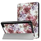2in1 for Amazon New Kindle Fire 7 HD7 7' (7th Generation, 2017 Release) Ultra Thin Slim Folio Stand Sleep/Wake Up Leather Case Lightweight Smart Cover +1x Clear Screen Protector (Colored Flower)