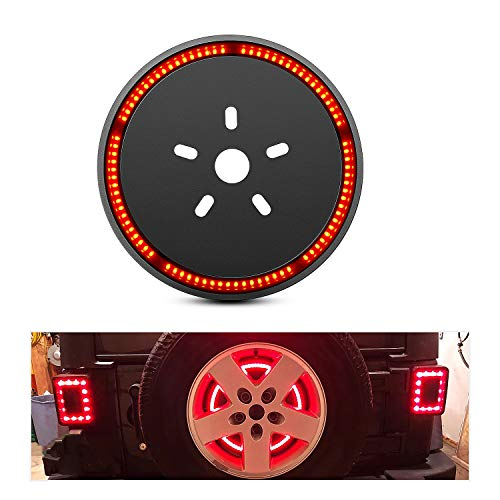 Nilight Spare Tire Brake Light Wheel Light 3rd Third Brake Light for Jeep Wrangler 2007-2018 JK JKU YJ TJ,Red Light, 2 Years Warranty