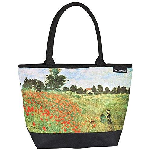 VON LILIENFELD® Borsa Shopping Fiori Spiaggia Shopper Tracolla Spazioso Saccoccia Arte Claude Monet: Campo di papaveri