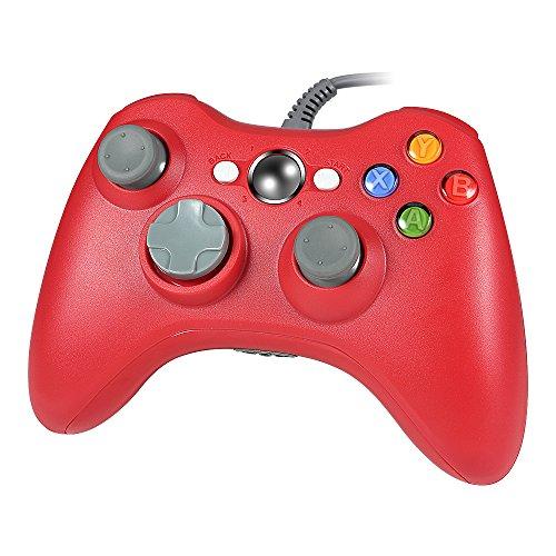 Wetoph GD03 Manette de jeu USB avec fente pour casque pour Xbox 360 et PC (Windows XP/7/8/10) Rouge