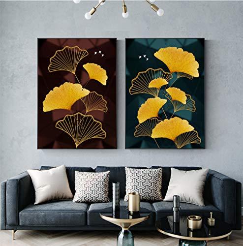 QPOWY Modernes schwarzes goldenes Plakat-Luxuswandkunst-Bild-abstrakte Ginkgo-Leinwand-Malerei für Wohnzimmer-Modedruck-40x60cmx2 Rahmenlos