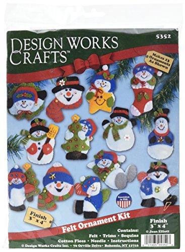 Tobin Lots of Fun Snowmen Ornaments Felt Applique Kit, 3-Inch by 4-Inch, Set of 13