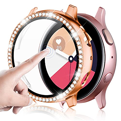 GEAK Compatible for Samsung Galaxy Watch Active 2 Screen Protector 40mm, Crystal Diamonds Design for Women Girl Full Protective Bumper with HD Screen Protector for Galaxy Active 2 Watch 40mm Rose Gold
