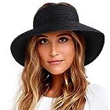 FURTALK Sun Visor Hats for Women Wide Brim Straw Roll Up Ponytail Summer Beach Hat UV UPF Packable Foldable Travel Black