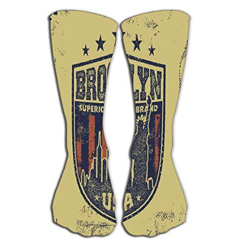 Deportes al aire libre hombres mujeres calcetines altos calcetines vintage brooklyn tipografía baldosa longitud 19.7