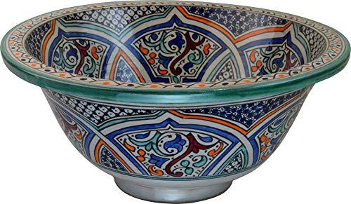 Fez/Rabat Türkis Keramik Handbemalt marokkanischen Waschbecken Waschbecken - runde, lackiert innen heraus, Türkis in Weiß - Di 40 Cam H 17 cm