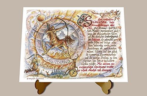 Geschenk Sternzeichen Schütze Gedicht Spruch Zeichnung Color 20 x 15 cm mit Aufsteller