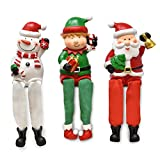 Gift Boutique Christmas Characters Shelf Sitters Santa Snowman Elf Decorations 3 Pack Poly Resin Desk Mantel Table Topper Centerpiece Holiday Sitting Leg Figurines Winter Home Indoor Party Accessories
