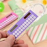Rantoloys 1pc 10cm Righello Mini calcolatrice Calcolatrice multifunzione a energia solare ultrasottile per forniture scolastiche per bambini, colore casuale
