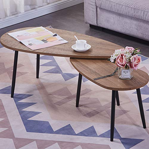 GOLDFAN Triangle Coffee Table Set Nest of 2 Tables Morden Sofa Coffee Side Table Black Metal Table Legs for Living Room, Walnut