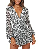 Relipop Women's Polka Dot Jumpsuits Deep V-Neck Long Sleeve Knot Front Ruffle Hem Rompers (T2, Small) by