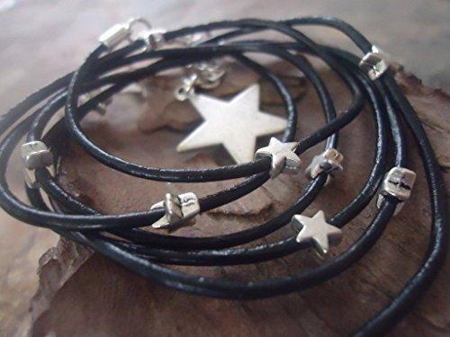 NEGRO VÍA LÁCTEA pulsera del abrigo de cuero con las estrellas