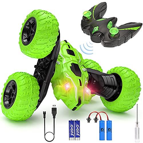 Macchina Telecomandata, 4WD Auto Telecomandata con Batteria Ricaricabile, 2.4GHz Macchina Acrobatica Rotazione di 360°con Luce LED Macchina Radiocomandata per Bambini - Verde