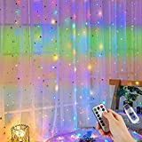 Cortina de luces LED, 3m x 2m Luces de Cadena de Cortina, 200 LED 8 Modos con Mando a Distancia, Cortina Luces USB para Dormitorio, Interior y Exterior, Fiesta, Boda, Navidad, Cumpleaños, Jardín