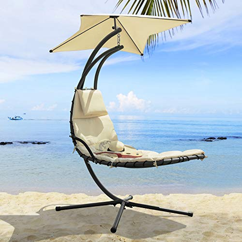 SoBuy OGS39-MI Ligbed met parasol Zonneluifel Hangstoel Modern Lounge Draagvermogen 120kg - Beige
