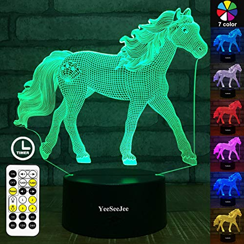YeeSeeJee Horse Gifts for Girls,3D Night Light with 7 Colors...