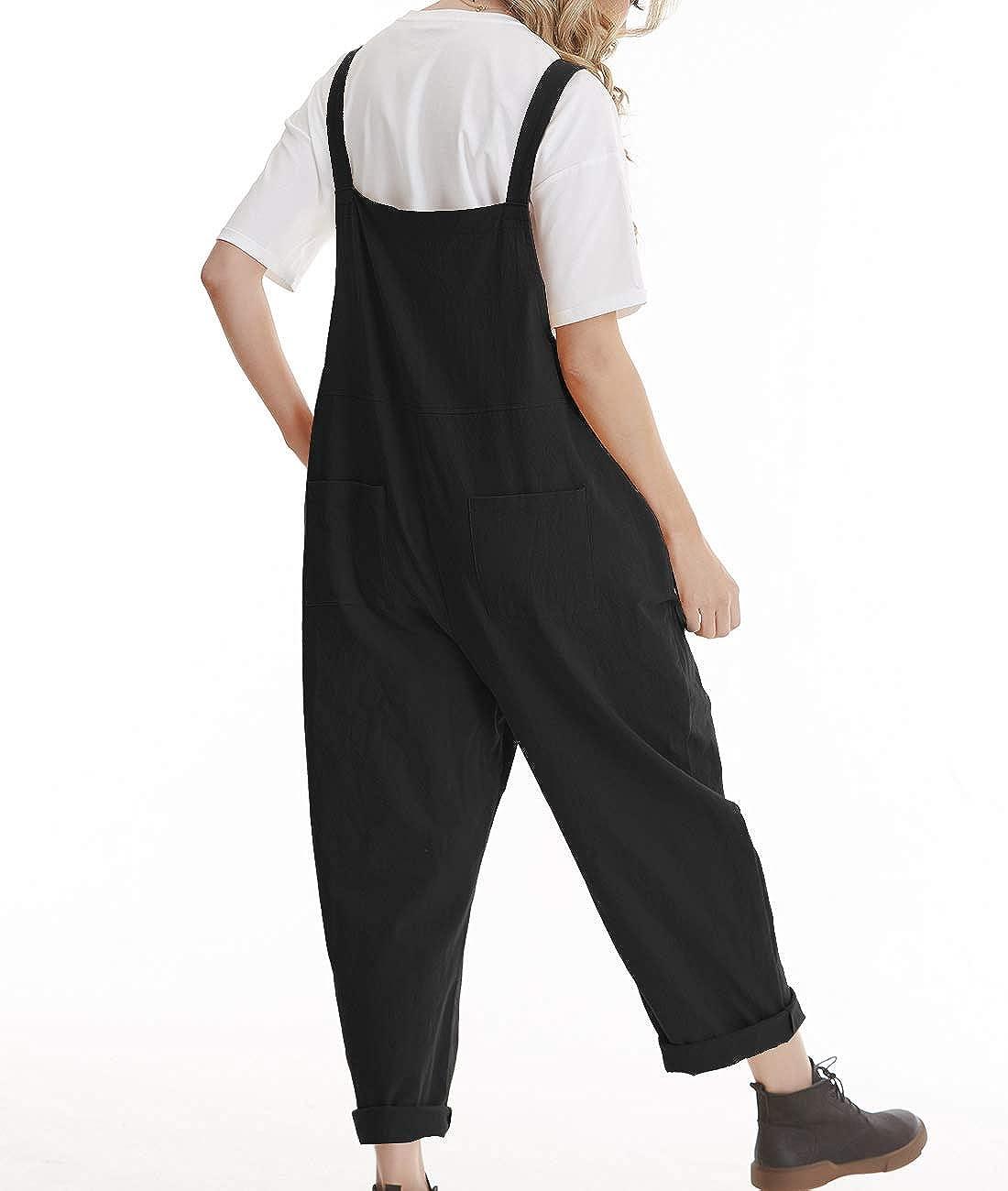 YESNO Damen Latzhose Sommer Oversize Tr/ägerhose Beil/äufig Loose Bib Pants Overall Baggy Jumpsuit Strampler Sommerhose mit Tr/äger PV9