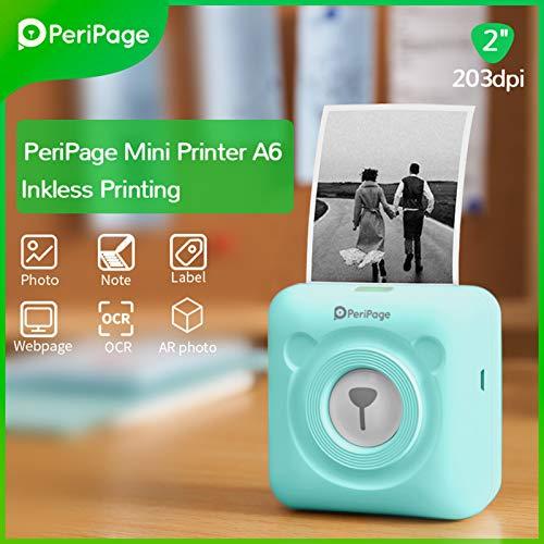 Aibecy PeriPage Mini Fotodrucker Wireless BT Thermodrucker Picture Label Memo Receipt Drucker mit USB-Kabel für Android iOS Smartphone Windows (Grün)