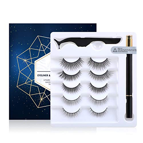 QWEDFG Non-Magnetic Liner and Lashes Kit, Non Glue Non Magnetic Lashes Set, Eyeliner That Can Stick Eyelashes, 5 Styles of Eyelashes, Waterproof and Reusable