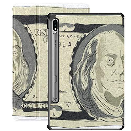 Funda Galaxy Tablet S7 Plus de 12,4 Pulgadas 2020 con Soporte para bolígrafo S, Cien dólares Funda Protectora Tipo Folio con Soporte Delgado de Vector Dibujado a Mano para Samsung