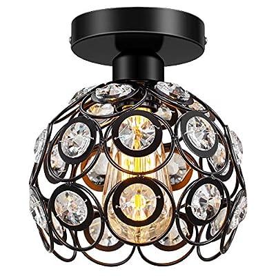 Semi Flush Mount Ceiling Light Fixture, Antique Black Metal Crystal Ceiling Lamp, Indoor Lighting for Bathroom Fixture Foyer Ceiling Fixture Hallway Lighting Fixture