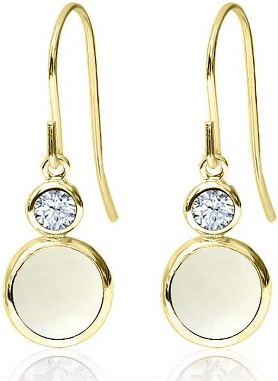 1.52 Ct Round Cabochon White Simulated Opal 14K Yellow gold Earrings