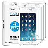 OMOTON Protector Pantalla iPhone SE/ iPhone 5/5S Cristal templado, iPhone SE Protector Pantalla iPhone 5S, Antiarañazo, 4 Pack