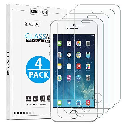 OMOTON [4 Stück] Panzerglas für iPhone SE/ 5S/ 5C/ 5, 9H Härte, Anti-Kratzer, Anti-Öl, Anti-Bläschen