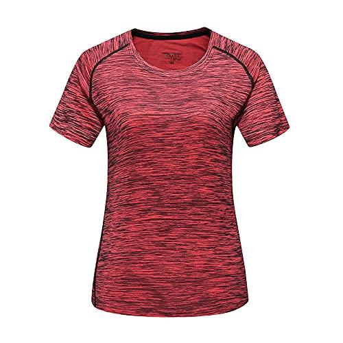 DamaiOpeningcs Camiseta de manga corta con protección UV, para verano, hombres y mujeres, para parejas, camiseta de manga corta, cuello redondo, media tubo, sección fina, camisa roja para mujer y L.