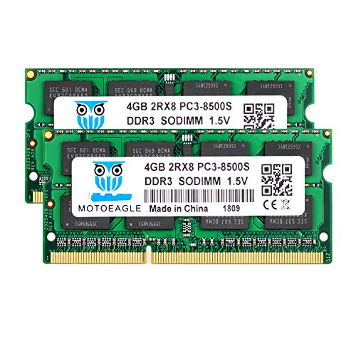Motoeagle 8GB Kit (2x4GB) PC3 8500S DDR3 1066MHz/1067MHz 2RX8 Dual Rank PC3-8500...