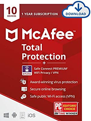 McAfee Total Protection with Safe Connect VPN, includes Antivirus, Internet Security, 1-year subscription, 2021 [PC/Mac Online Code]