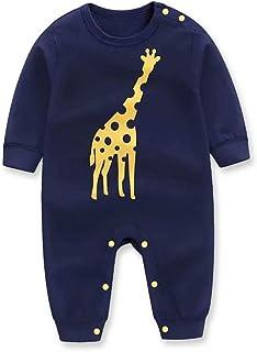 Baby Boy Bodysuit Giraffe Print Long-Sleeve Onesies Jumpsuit Set