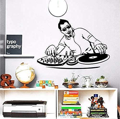 Wall Sticker Night Club Vinyl Music Boy Dj Mixer Wall Decal Music Player Wall Poster Music Club Decor Home Music Sticker 39X57Cm