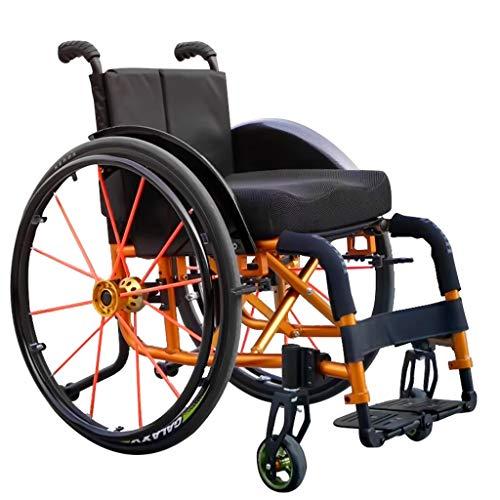 Festiveasd Sport- und Freizeitrollstuhl, Gold, Faltbarer tragbarer Rollstuhl aus Aluminiumlegierung, Transportrollstuhl-Reifenschnellspanner, selbstfahrender Rollstuhl mit Kippschutz,Beige,40