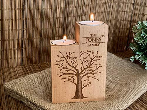 Personalisierter Kerzenhalter aus Holz, Graviertes Lebensbaum, Set 2 Teelichthalter mit Namen, Wunschnamen, Namensgravur Kerzenleuchter, Geschenke für Eltern, Mama, Oma, Familiennamen, Baum des Lebens
