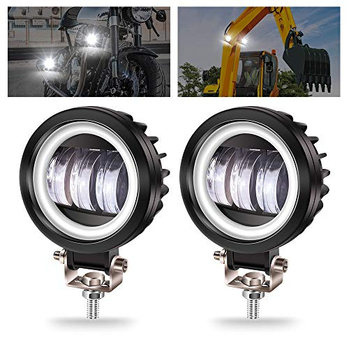 Biqing 2PCS Faros Auxiliares de Moto,40W Luz Antiniebla para Motocicleta Luces Adicionales LED Faros para Todo Terreno Luces de Circulación Diurna 12V/24V 3700LM para camión 4x4 Suv Atv Tractor