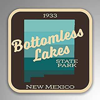 JMM Industries Bottomless Lakes State Park New Mexico Vinyl Decal Sticker Retro Vintage Look 2-Pack 4-inches by 4-inches Premium Quality UV Protective Laminate SPS065