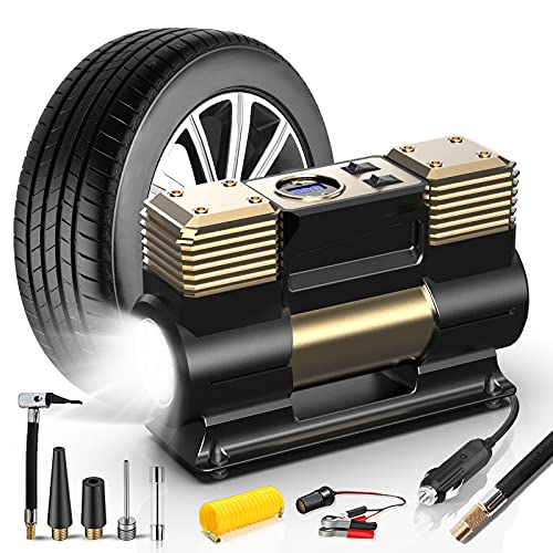 WOLFBOX Portable Air Compressor for Car Tires, Tire Inflator Portable Air Compressor with LED Light,...