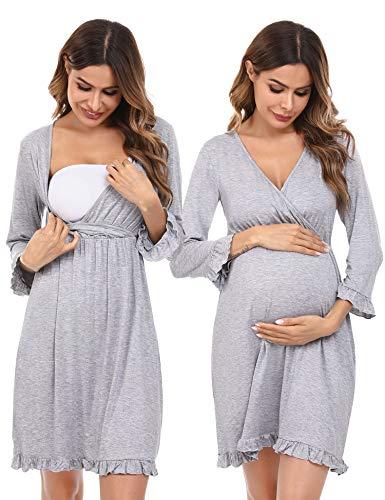 Doaraha Camisón Lactancia Algodón Mujer Ropa de Dormir Premamá Hospital Vestido de Maternidad Embarazo Pijama Embarazadas Camisones Embarazada Manga Corta 3/4 Suave (Gris, S)