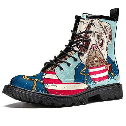 Botas de invierno con estampado de perro pirata para mujeres y niñas, botas de nieve cálidas con parte superior alta de tobillo con cordones para la escuela, color Multicolor, talla 37.5 EU