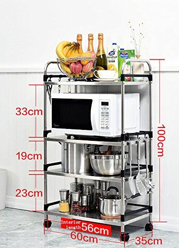 TRRE@Acier inoxydable Étagères de rangement multi-fonctions de cuisson, étagère de plat Épicé Porte-légumes Rack de four à micro-ondes pour la cuisine(Couleur : Four layers,taille : Length 60cm)