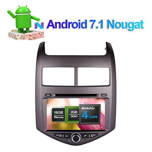 2 DIN 20,3 cm Android 7.1 Autoradio stéréo avec lecteur CD DVD Navigation GPS Autoradio pour Chevrolet Aveo 2011- support FM AM 1080p Wifi/3G Sortie AV Bluetooth 4.0 Caméra de recul téléphone Link