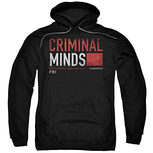 Trevco Criminal Minds Title Card Unisex Adult Pull-Over Hoodie for Men and Women, Medium Black