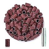 Canvalite Bandas de lijado de uñas, 100 piezas brocas de recambio de bandas de lijado para Lima de uñas eléctrica