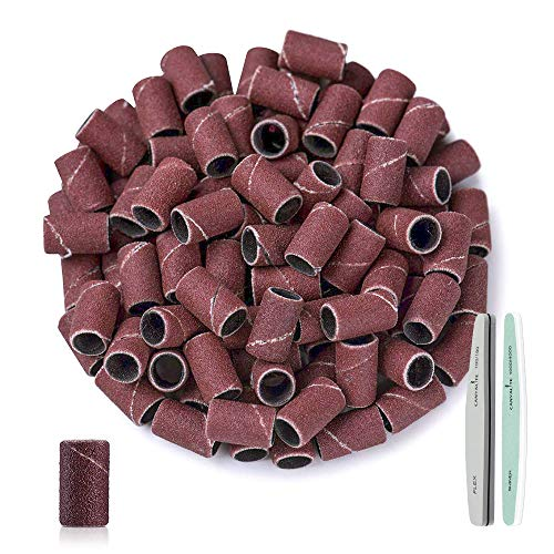 100Pcs Sanding Bands for Nail Drill 180 Grit, Nail Drill Sanding Bands Fine for Acrylic Gel Nails Cuticle Removal with 100/180 Buffer File & 1000/4000 Polish File