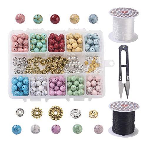 SiTey 1 caja de cuentas turquesas para hacer pulseras, cuentas de chakra, cuentas espaciadoras, cuentas de chakra, varios colores, con cuerdas elásticas negras y transparentes, cuentas espaciadoras